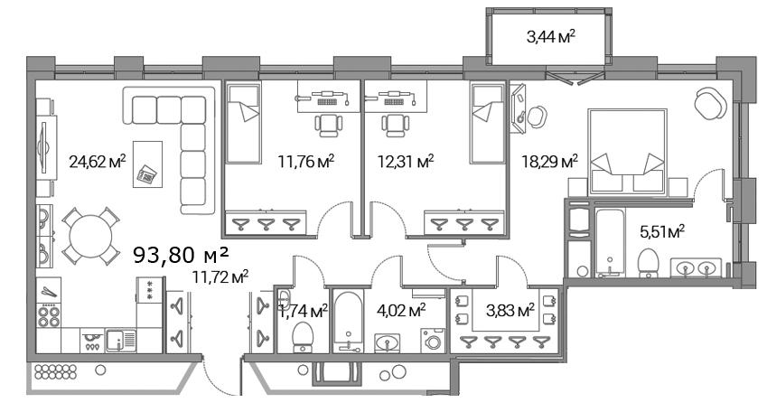 Планировка Трёхкомнатная квартира площадью 93.8 кв.м в ЖК «Legenda Дальневосточного»