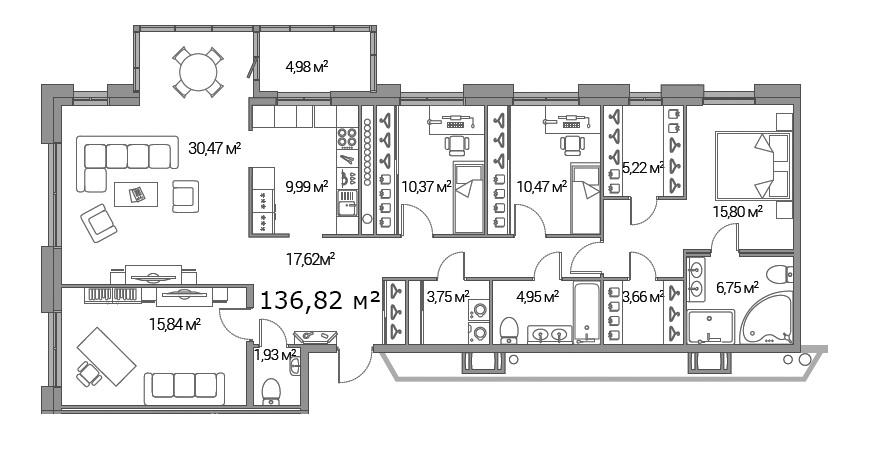 Планировка Четырёхкомнатная квартира площадью 136.82 кв.м в ЖК «Legenda Дальневосточного»