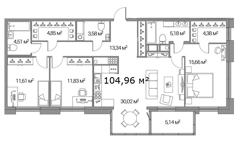 Планировка Трёхкомнатная квартира площадью 104.96 кв.м в ЖК «Legenda Дальневосточного»