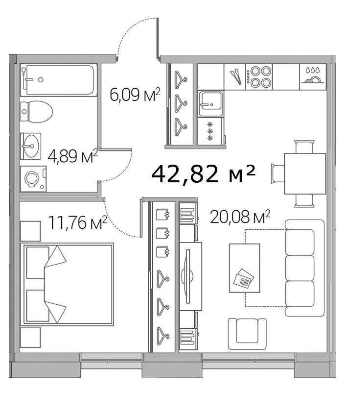 Планировка Однокомнатная квартира площадью 42.82 кв.м в ЖК «Legenda Дальневосточного»
