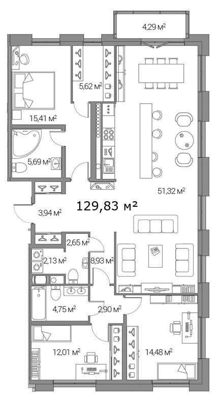 Планировка Трёхкомнатная квартира площадью 129.83 кв.м в ЖК «Legenda Дальневосточного»