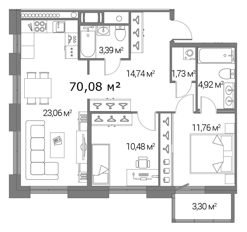 Планировка Двухкомнатная квартира площадью 70.08 кв.м в ЖК «Legenda Дальневосточного»