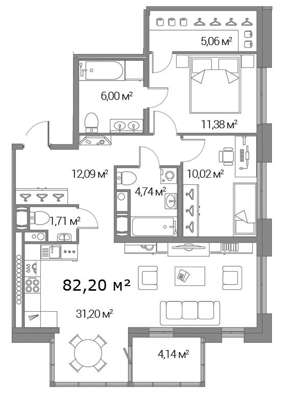 Планировка Двухкомнатная квартира площадью 82.2 кв.м в ЖК «Legenda Дальневосточного»