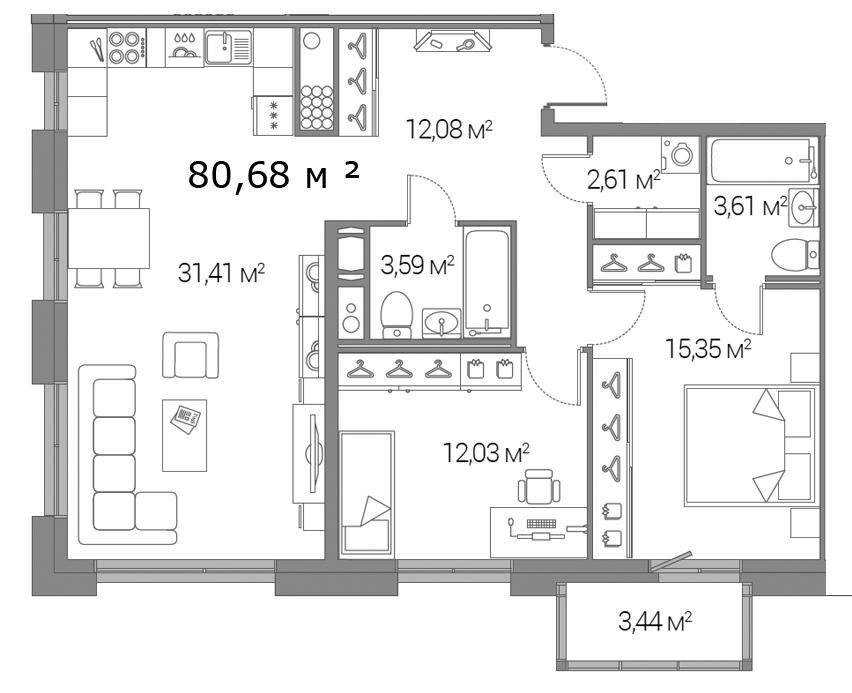 Планировка Двухкомнатная квартира площадью 80.68 кв.м в ЖК «Legenda Дальневосточного»