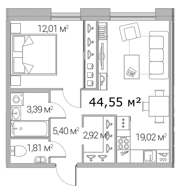 Планировка Однокомнатная квартира площадью 44.55 кв.м в ЖК «Legenda Дальневосточного»