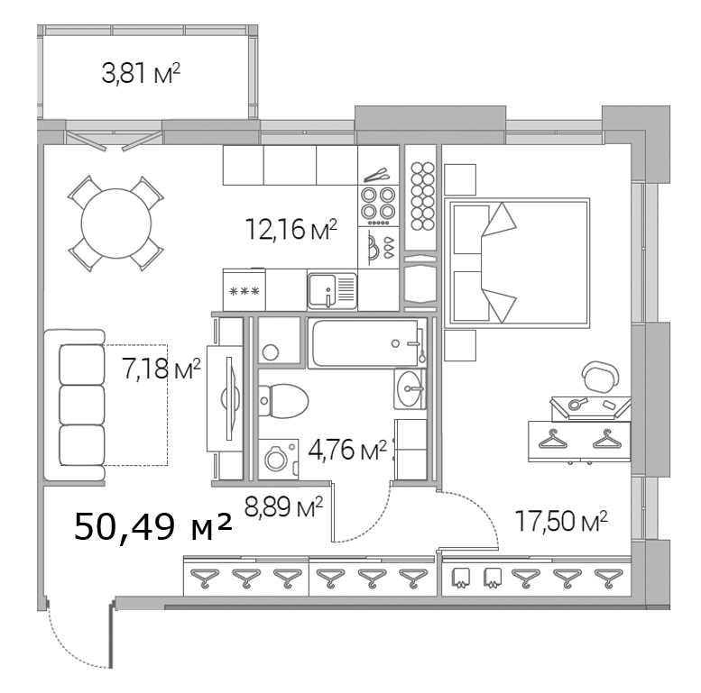 Планировка Однокомнатная квартира площадью 50.49 кв.м в ЖК «Legenda Дальневосточного»