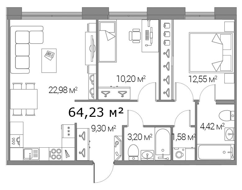 Планировка Двухкомнатная квартира площадью 64.23 кв.м в ЖК «Legenda Дальневосточного»